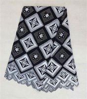Fabric Cotton Multi-Colored High quality white and black lattice pattern swiss voile lace high cotton fabric(5yards pc),African lace fabric for clothing BC118-1