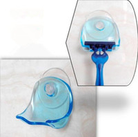 Wholesale Suction Wall Hangers - Fashion Hot Super Suction Cup Razor Rack Razor Holder Suction Cup Shaver Storage Rack Wall Hook Hangers Towel Sucker bathroom accessories