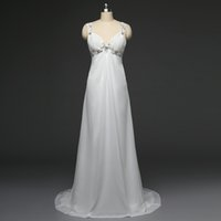 Wholesale Wedding Dress Column Backless - Stock cheap Sexy Beach Wedding Dresses Spaghetti beaded Chiffon Empire long Bohemian country style Bridal Gowns
