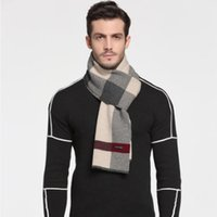 Wholesale Muffler Scarf For Men - LUXURY 100% Wool Scarves for Man Sexy Charming Elegant Business scarf Male 180x30cm Long Warm Thick Muffler design Fashion Classic Cashmere