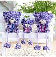 Wholesale Personalized Family Ornament - 3 pcs  set Lavender Bear doll hanging feet family of three home personalized ornaments holiday gift trinkets