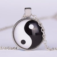 Wholesale tai chi charms - European and American fashion vintage alloy necklace Yin Yang Tai Chi Bagua map Time gemstone pendant necklace wholesale 161011