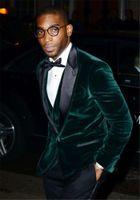 Wholesale Tuxedos For Groom Green - 2017 Green Velvet Wedding Groom Tuxedos Black Peaked Lapel Three Piece Custom Made Mens Suits for Men (Jacket + Pants + Vest)