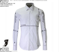 Wholesale Mens Stripped Shirts - Free Shipping 2016 New Arrival Fashion Numerals influx Stripped Long-sleeved High Quality Shirt Full Cotton Slim Mens Casual Shirt Hot Sale