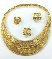 Wholesale Golden Ring 18 - In 2016, the latest popular new, 18 k imitation gold plating, oil.. Necklace, earring, bracelet, ring big style suits, suitable for parties,
