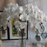 orkid kafaları toptan satış-SıCAK GERÇEK DOKUNMATIK PU Tek Kök Orkide (9 kafaları / adet) 100 cm Uzunluk Yapay Çiçekler Phalaenopsis Düğün Centerpieces için