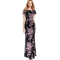 Wholesale Bodycon Pinup Dress - Womens 2016 Spring Summer Elegant Vintage Print Pinup Short Sleeve Casual Party Fit Bodycon Pencil Long Maxi Dress