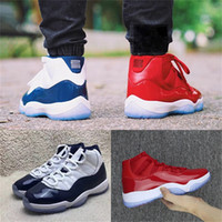 Wholesale Mens Shoes 45 - 2018 New arrival mens Basketball Shoes 11 UNC Gym Red space jam 45 high quality 11s women Sneakers size US5-US13