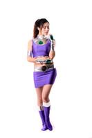 traje de spandex metálico brilhante venda por atacado-Lycra Spandex Brilhante Metálico Sexy Starfire Traje Feminino Zentai para As Mulheres Adulto Festa de Halloween Cosplay Terno