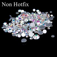 Wholesale Glue Nails 3d - SS12-SS50 Non Hotfix Crystal Rhinestones Glitter White Crystal AB Flatback Glue On Strass Diamonds Many Sizes For 3D Nails Art Decorations