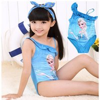 Wholesale Sling Swim Wear - Girls' swimming suit Sling piece triangle swimsuits children's wear Lace fashion Sexy one piece swimsuit outdoor beach hot spring 286