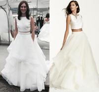 Wholesale Black Mikado Dress - New Two Pieces Mikado Crop Wedding Dresses 2016 Bateau Backless Ruffles Floor Length Boho Charming Bridal Gowns SWG687 Vestidos De Noiva