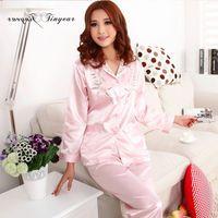Wholesale Floral Pyjamas - Wholesale- In stock pijamas mujer silk full sleeve spring summer large size combinaison pyjama floral embroidery night sleepwear 3 colors