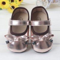 Wholesale Baby Girl Shoes Rubber Soles - 2015 Fashion New Lovely Bowknot Baby Shoes First Walkers Soft Sole Bling Infants Girls Princess Golden Shoes