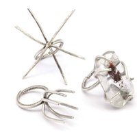 Wholesale Brass Ring Blank - 5pc.. Antique Silver Plated raw Brass Ring Blanks Settings & 6 Claws ( Natural Stones) Y128