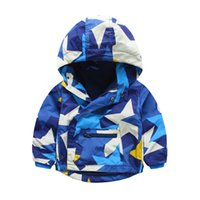 Wholesale Wholesale Polyester Hooded Jacket - Kids clothing Boys hooded coat Stars Winter fleece lining Baby boy clothing children clothes 2016 New boys jackets warm outwear slope zipper