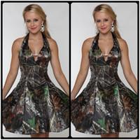 Wholesale Prom Camouflage Dresses - Cheap 2017 Camo Bridesmaids Dresses Short Halter V Neck A Line Knee Length Camouflage Prom Dress Wedding Party Events Bridesmaid Dresses