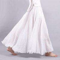 Wholesale Maxi Elastic Waist Chiffon Skirt - Womon Linen Solid Colors A-line Pleated Skirt Elastic Waist Ankle-length Long Skirts For Female Big Swing Maxi Skirt SK1726