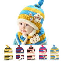 Wholesale Cute Toddler Girls Winter Hats - Hot Sale Boy Girl Unisex Kids Autumn Winter Warm Beanie Hat Cute Winter Baby Wool Hat Hooded Scarf Earflap Knit Cap Toddler