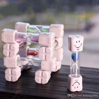 Wholesale children brushing teeth - Glass Tooth Brushing Sand Timer Not Breakable Plastic Smile Face Hourglass Child Sands Clock For Home Decor 1 8ke F