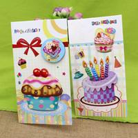 cartão 3d do bolo feito à mão venda por atacado-Aniversário (16 peças / lote) 3d Bolo Estéreo Handmade Cartão Do Aniversário Com Envelope Feliz Aniversário Presente Para Cartão de Amigo Set