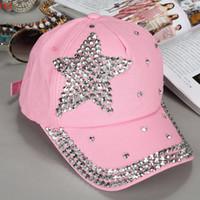 Wholesale Kids Rhinestone Hats - Amazing Colors Hats Fashion Children Kids Baseball Cap Rhinestone Star Shaped Boy Girls Snapback Hat Sequins Rivets Summer Visors SV005453