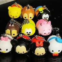 10pcs / lot sveglio della Mini Papera mouse giocattolo di plastica Ciondolo Vinyl Toy Sound Production Tsum Tsum Kids Toy libero