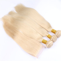 Wholesale Blonde Lace Top Closure - Blonde Lace Closure With Bundles 4Pcs Lot #613 Free Middle Three Part 4x4 Russian Silk Straight Lace Top Closure With Human Hair Weaves