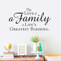 Wholesale Wall Stickers Bless Family - life greast blessing is Family love Wall Stickers Walls Vinyl Removable Murals Living room bedroom Decals