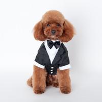 ingrosso abiti da sposa per cani-Abbigliamento per cani Abbigliamento per animali Grande Carino Vestiti per cani da compagnia Vestiti per principe Tuxedo Papillon Cappotto per cuccioli 5 Taglie Cani Vestiti per sposini