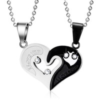 Wholesale necklace for pairs resale online - Mens Stainless Steel Chain Necklaces for Couples Korean Ladies Fashion Paired Suspension Puzzle Matching Pendants Black Heart Love Necklaces