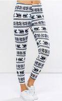 Wholesale Winter Snowflake Print Leggings - 2017 Autumn And Winter Women Leggings Snowflake Digital Printing Trousers Black And White Classic Slim Breathable Sport Pants