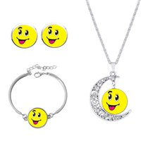 Wholesale Moon Images - Fashion Jewelry Silver Color Emoji Art Image Moon Pendant Necklace Earrings Charm Bracelet Gift Sets for 2016