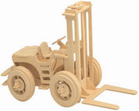 Wholesale Fork Lift Trucks - Free shipping------ In 2016 Year New Product's Fork Lift Truck 3 d Wooden Simulation Stereo DIY Assembly Model Educational Toys