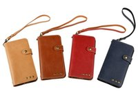 Wholesale galaxy note leather pouch - Genuine Retro Crazy Horse Wallet Leather Pouch Case For Samsung Galaxy S8 PLUS NOTE 8 J3 J5 J7 2017 HTC U11 Strap TPU Card Skin Cover Luxury