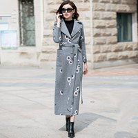 Trench coat in lana da donna Lady Grey Slim X-Long Coats Donna Plus Size Outwear Girls Maxi Blends Coat 2018 Spring Abbigliamento donna W281