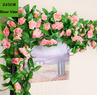 Wholesale Artificial Rose Vines Silk Flower - 245cm Wedding decoration Artificial Fake Silk Rose Flower Vine Hanging Garland Wedding Home Decor Decorative Flowers & Wreaths