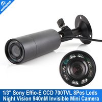 Wholesale Ir Dvr Camera Sd - Mini Outdoor Invisible 8 IR 940nm 0 lux Nightvision Sony Effio-E 700TVL Mini Bullet CCTV Camera For 960H D1 DVR