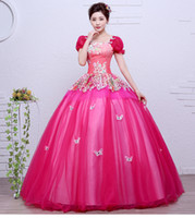 Wholesale Sissi Costume - luxury hot pink butterfly flower bubble sleeve ball gown sissi princess medieval dress Renaissance Gown princess Victorian belle ball gown