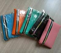 Wholesale Orange Wristlet Bag - Womens Wallets Coin Card Purses Fashion Ladies Candy Plaid Wristlet Wallet PU Leather Tartan Key Ring Phone Bags Handbag H300431