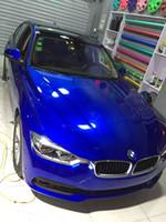 couleur vinyle bleu achat en gros de-Emballage de vinyle de couleur bleu métallisé brillant pour wrap de voiture avec bulle d'air sans bulles d'air Taille: 1.52 * 20M / Rouleau Rouleau de 5x67 pi