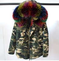 Wholesale Ladies Hooded Military - multicolour Fox fur liner camouflage military jacket Ladies mini parkas hood with big raccoon fur collar UK USA Sweden