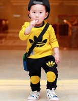Wholesale Cotton Sweatshirt Baby Yellow - 2016 Spring Autumn baby girls clothing set kids sweatshirt tracksuit boys Sport suit long sleeve children t shirt pants clothes
