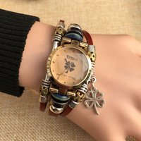 Wholesale Antique Belt Bracelet - 2017 New ladies ladies fashion watch fashion leather retro student cartoon bracelet watch casual lady quartz diamond watch