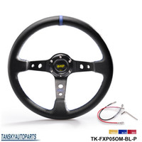 Wholesale Drifting Steering - Tansky - NEW High quality 350MM PVC Drifting Sport Racing Steering Wheel + Horn Button Aluminum Frame TK-FXP05OM-P