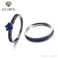 Venda por atacado Midi Ring Set Blue CZ Diamond For Women Promise Women's Double Rings Bridal Sets Black Gold Jewelry Engagement Gifts CC214