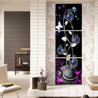 kelebek tuvale soyut toptan satış-Ücretsiz Kargo Tuval üzerine 3 Adet çerçevesiz çerçeveler kelebek Soyut karikatür çiçek toprak Karahindiba şelale dağ turuncu orkide ağacı