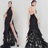 Wholesale Lavender Sequin Feather Dress - Feather Beading Sequins Evening Dresses Black Backless Side Split Halter Party Dress Sleeveless Sexy Sweep Train Luxury Party Gowns
