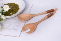 Wholesale Dutch wooden spoon forks two pieces creative package ECO Friendly winding fruit and vegetable salad fork spoon