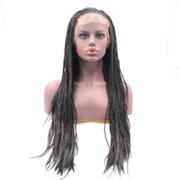 Wholesale 26 Inch Synthetic Braiding Hair - Long Silky Straight Braid Hair Synthetic Lace Front Wigs Box Braid Heat Resistant Fiber 20-30 inch Natural Looking Free Delivery